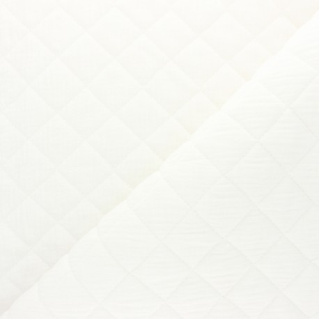 Quilted double gauze cotton fabric - white x 10cm