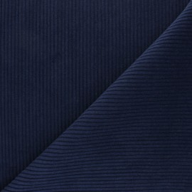 Thick ribbed velvet fabric - night blue x 10cm