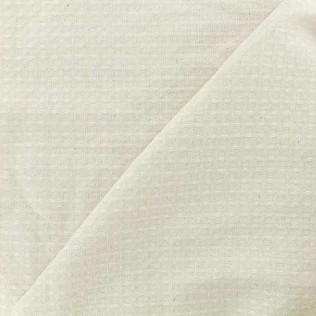 Tissu éponge nid d'abeille recto-verso écru x 10cm