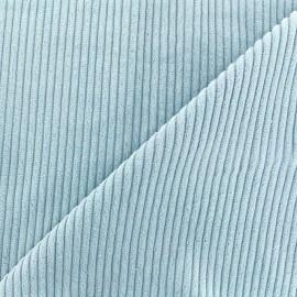 Tissu velours grosses côtes - ciel x10cm