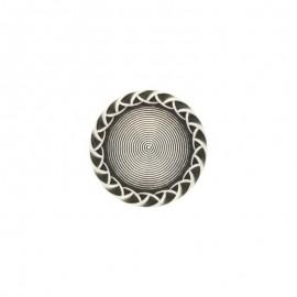Bouton métal bombé Paulette - argent