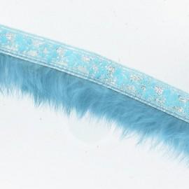 Galon fourrure turquoise argent x 50 cm