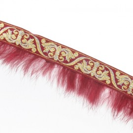 Fur braid trimming x 50cm - burgundy/golden