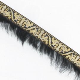 Galon fourrure noir or x 50 cm