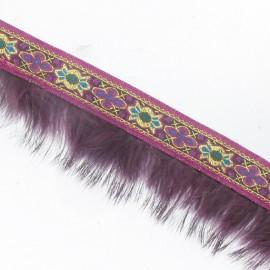 Fur braid trimming x 50cm - plum/golden