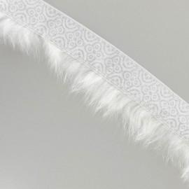 Galon fourrure blanc argent x 50 cm