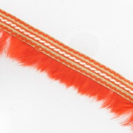 Stitched-edge fur braid trimming x 50cm - orange