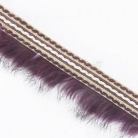 Stitched-edge fur braid trimming x 50cm - plum