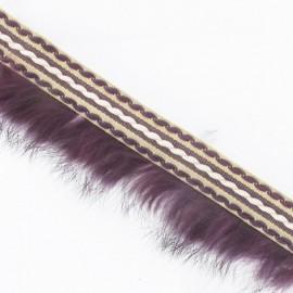 Stitched-edge fur braid trimming x 50cm - plum