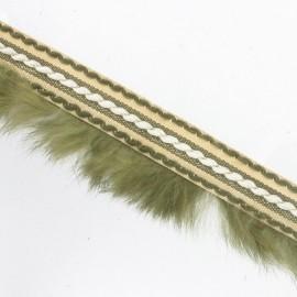 Stitched-edge fur braid trimming x 50cm - khaki