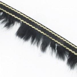 Fur Braid Trim - Overstitched Black x 50cm