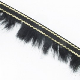 Fur Braid Trim - Overstitched Black x 50cm