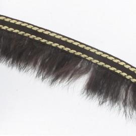 Stitched-edge fur braid trimming x 50cm - brown