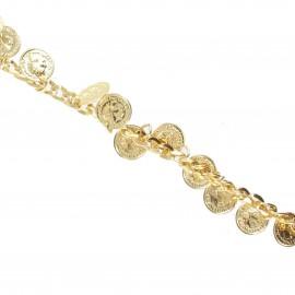Chaînette breloques pièces doré 20 cm