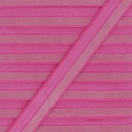 18 mm Striped Lurex Lingerie Elastic Bias - Fuchsia x 1m