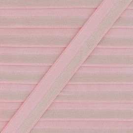 18 mm Striped Lurex Lingerie Elastic Bias - Fuchsia x 1m