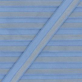 Biais Elastique Lingerie Rayé lurex 18 mm - Bleu marine x 1m