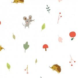 Tissu popeline Primrose Fabrics - Apples - écru x 10 cm