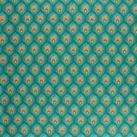 Coated cretonne cotton fabric - green Velda x 10cm
