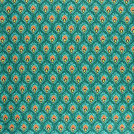 Coated cretonne cotton fabric - red Velda x 10cm