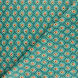 Tissu coton cretonne Velda - vert x 10cm