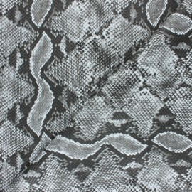 Snake Imitation leather fabric - Black Merope x 10cm
