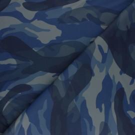 Tissu Simili cuir camouflage - marine x 10cm