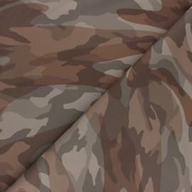 Tissu Simili cuir camouflage - marron x 10cm