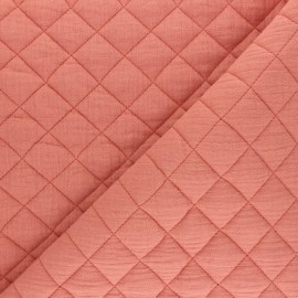 Tissu double gaze matelassé Réversible - marsala x 10cm