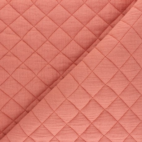 Quilted double gauze cotton fabric - marsala x 10cm