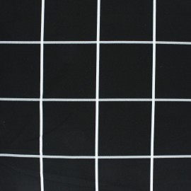 Checked Polyester fabric - Black Chess x 10cm