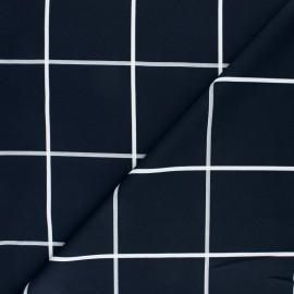 Tissu Polyester élasthanne à carreaux Chess - noir x 10cm