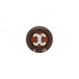 Bouton polyester Carl 22 mm - chocolat