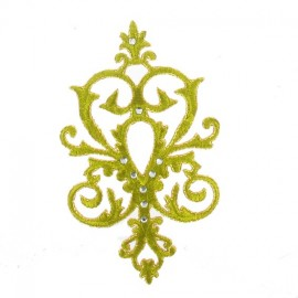 Fusible rhinestones arabesque applique - green