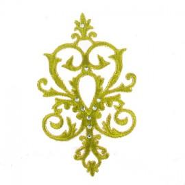 Motif arabesque strass vert