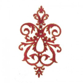 Fusible rhinestones arabesque applique - burgundy