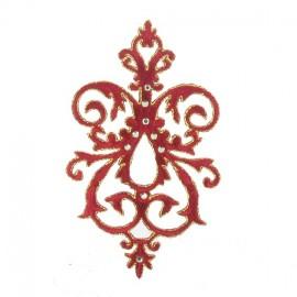 Motif arabesque strass bordeaux