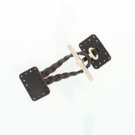 Brandebourg cuir véritable Braid - noir