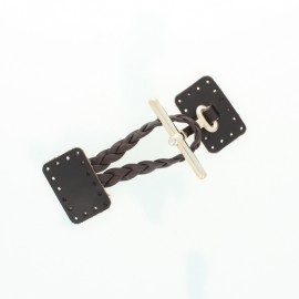 Leather duffle coat toggle - black Braid