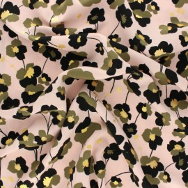 Polyester satin fabric Pearl Peach Gold Poppy by Penelope® - Pink x 10cm