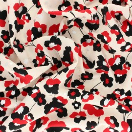 Polyester satin fabric Pearl Peach Gold Poppy by Penelope® - Sky blue x 10cm