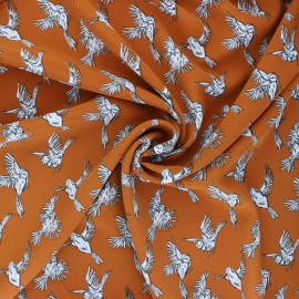 Polyester satin fabric Pearl Peach Parrot by Penelope® - Burnt orange x 10cm