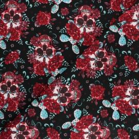 Cotton Poplin fabric - White Dot & flower x 10cm