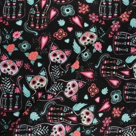 Cotton Poplin fabric - black Cact'skull x 10cm