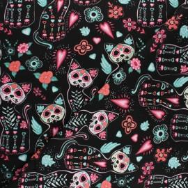 Tissu Popeline de coton Cact'skull - noir x 10cm