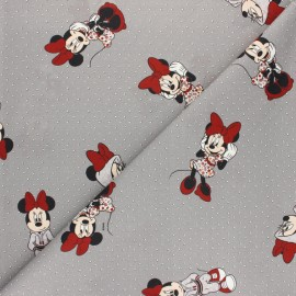 Disney Cretonne cotton fabric - white Sporty Minnie x 10 cm