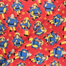 Cretonne cotton fabric - red Sam le Pompier x 10 cm