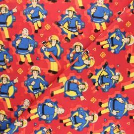 Tissu coton cretonne Sam le pompier - rouge x 10cm