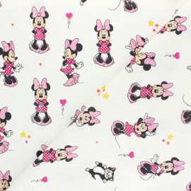 Tissu coton cretonne Minnie Sporty - gris x 10cm