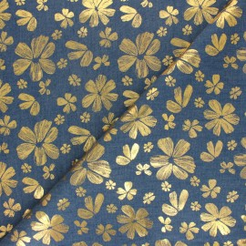 Light Chambray denim fabric - Blue Pop Flower x 10cm